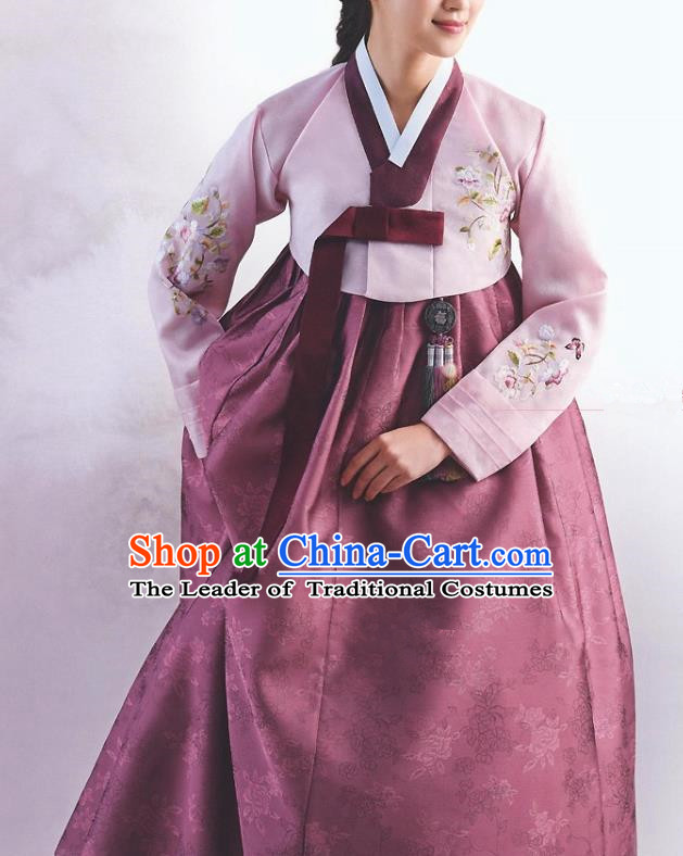 Top Grade Korean National Handmade Wedding Palace Bride Hanbok Costume Embroidered Pink Blouse and Wine Red Dress for Women