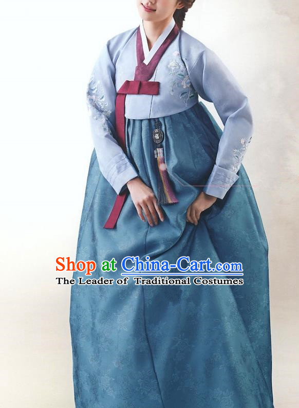 Top Grade Korean National Handmade Wedding Palace Bride Hanbok Costume Embroidered Blue Blouse and Dress for Women