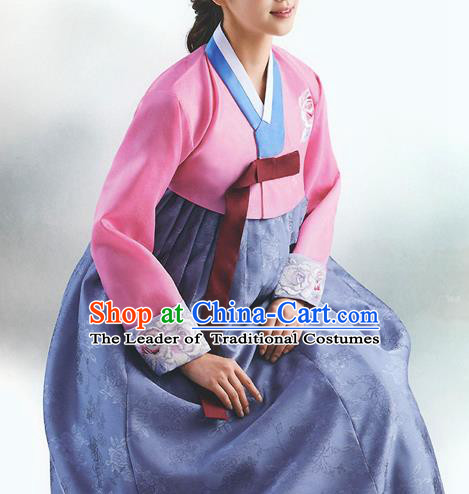 Top Grade Korean National Handmade Wedding Palace Bride Hanbok Costume Embroidered Pink Blouse and Purple Dress for Women