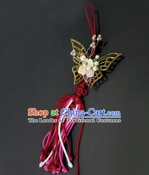 Asian Korean Hanbok Butterfly Tassel Waist Decorations, Korean National Belts Accessories Wedding Bride Waist Pendant for Kids