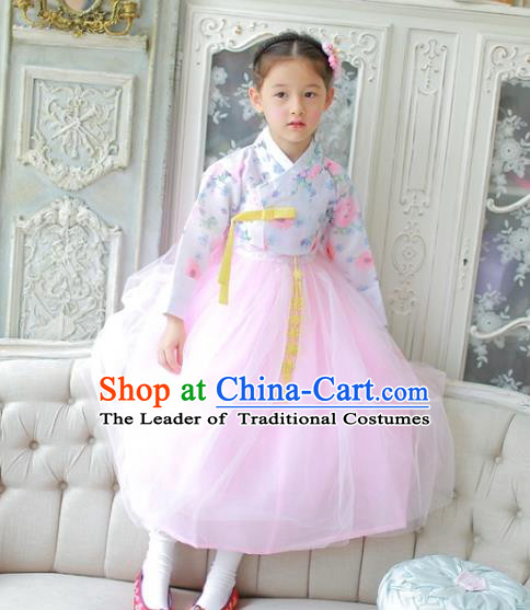 Traditional Korean National Handmade Formal Occasions Girls Clothing Palace Hanbok Costume Printing Blouse and Pink Dress for Kids