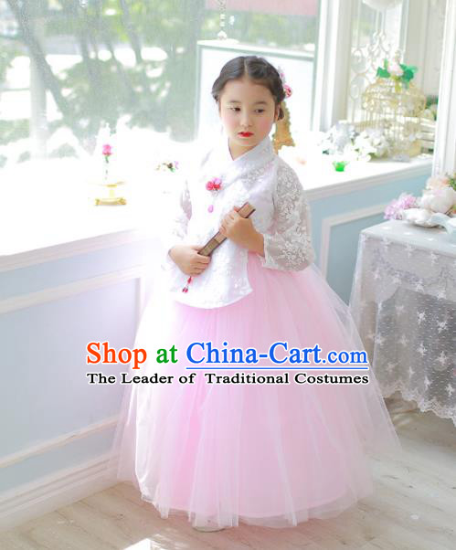 Traditional Korean National Handmade Formal Occasions Girls Clothing Palace Hanbok Costume White Lace Blouse and Pink Dress for Kids