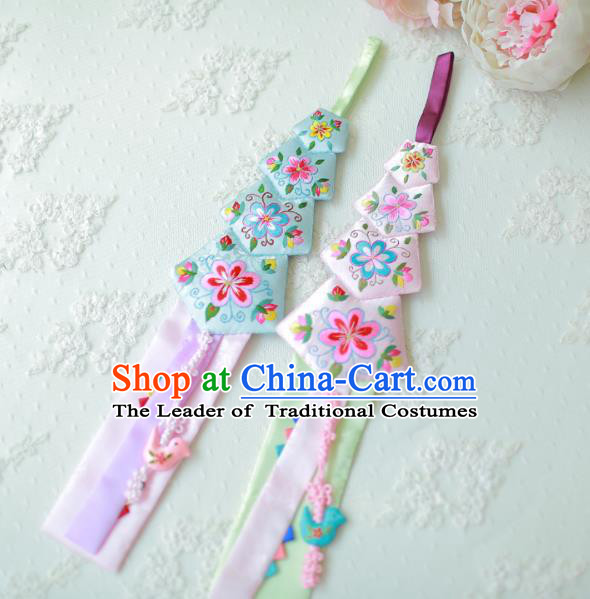 Asian Korean Hanbok Embroidered Tassel Waist Decorations, Korean National Belts Accessories Wedding Bride Waist Pendant for Kids