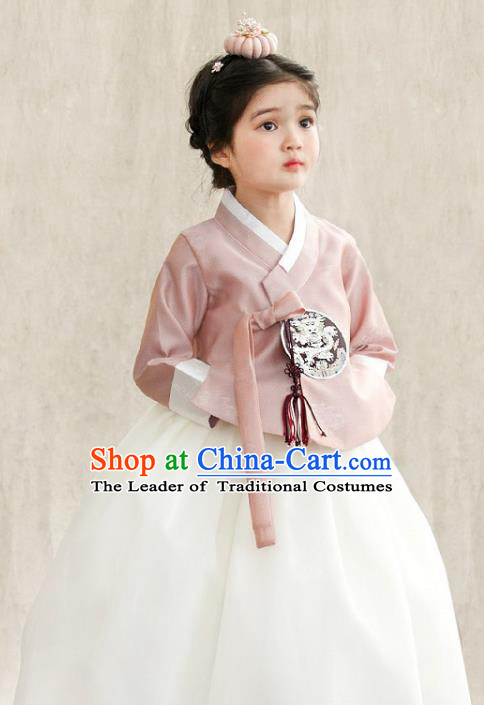 Traditional Korean National Handmade Formal Occasions Girls Palace Hanbok Costume Embroidered Pink Blouse and White Dress for Kids