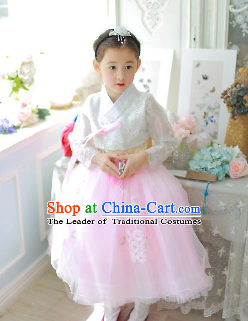 Traditional Korean National Handmade Formal Occasions Girls Palace Hanbok Costume Embroidered White Lace Blouse and Pink Dress for Kids