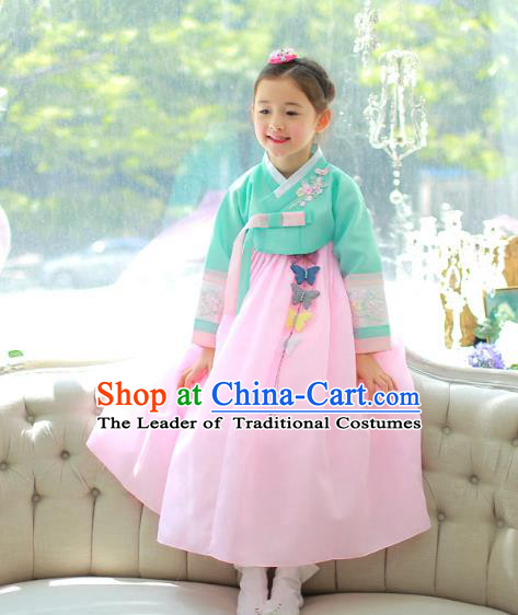 Traditional Korean National Handmade Formal Occasions Girls Palace Hanbok Costume Embroidered Green Blouse and Pink Dress for Kids