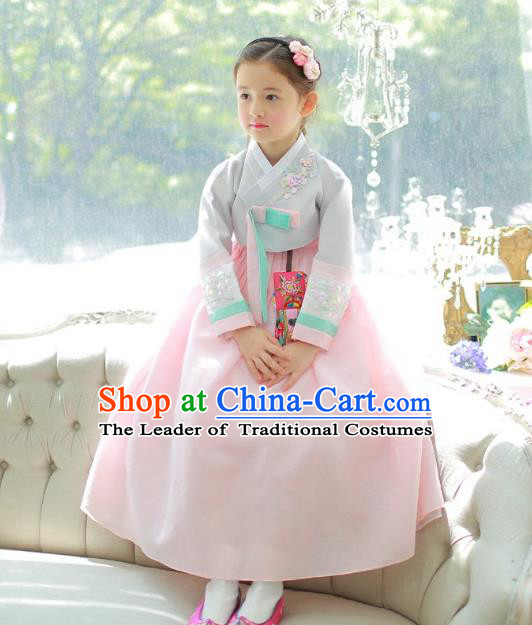 Traditional Korean National Handmade Formal Occasions Girls Palace Hanbok Costume Embroidered Grey Blouse and Pink Dress for Kids