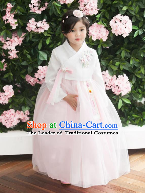 Traditional Korean National Handmade Formal Occasions Girls Palace Hanbok Costume Embroidered White Blouse and Pink Veil Dress for Kids