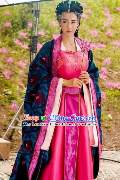 Traditional Chinese Southern and Northern Dynasties Imperial Consort Costume, Chinese Ancient Senior Concubine Embroidered Clothing for Women