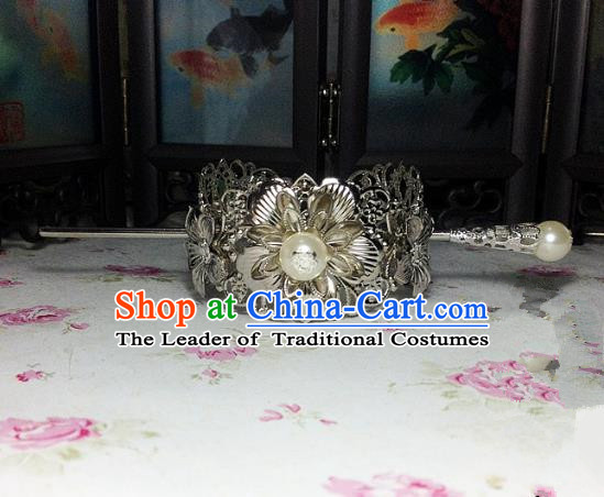 Traditional Handmade Chinese Ancient Classical Hair Accessories Royal Highness Pearl Tuinga Hairdo Crown for Men
