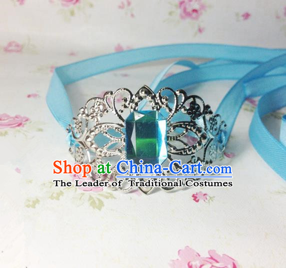 Traditional Handmade Chinese Ancient Classical Hair Accessories Royal Highness Blue Crystal Tuinga Hairdo Crown for Men
