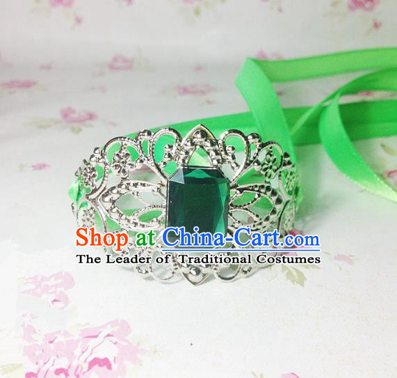 Traditional Handmade Chinese Ancient Classical Hair Accessories Royal Highness Green Crystal Tuinga Hairdo Crown for Men