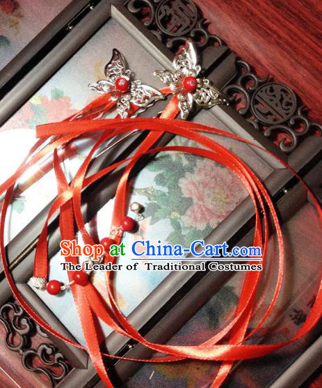 Traditional Chinese Ancient Classical Hair Accessories Butterfly Hair Clip Bride Red Ribbon Tassel Step Shake Hairpins for Women