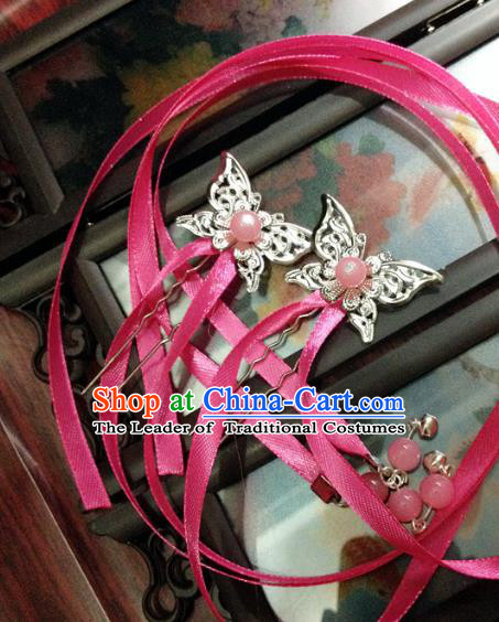 Traditional Chinese Ancient Classical Hair Accessories Butterfly Hair Clip Bride Rosy Ribbon Tassel Step Shake Hairpins for Women