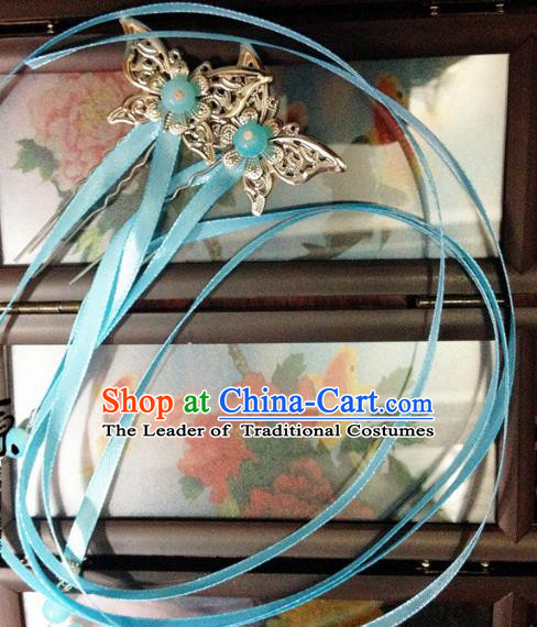 Traditional Chinese Ancient Classical Hair Accessories Butterfly Hair Clip Bride Blue Ribbon Tassel Step Shake Hairpins for Women