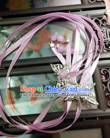 Traditional Chinese Ancient Classical Hair Accessories Butterfly Hair Clip Bride Lilac Ribbon Tassel Step Shake Hairpins for Women
