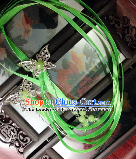 Traditional Chinese Ancient Classical Hair Accessories Butterfly Hair Clip Bride Green Ribbon Tassel Step Shake Hairpins for Women