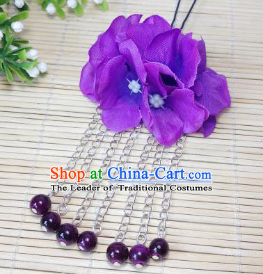 Traditional Chinese Ancient Classical Hair Accessories Deep Purple Flowers Beads Tassel Step Shake Bride Hairpins for Women