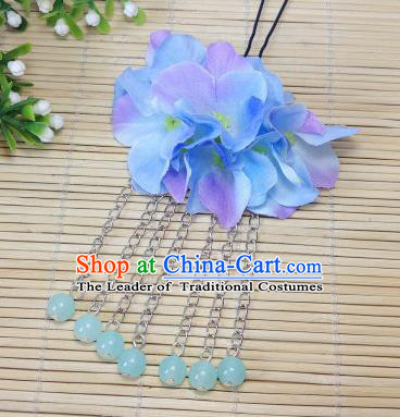 Traditional Chinese Ancient Classical Hair Accessories Light Blue Flowers Beads Tassel Step Shake Bride Hairpins for Women