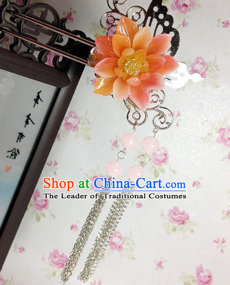 Traditional Chinese Ancient Classical Hair Accessories Hanfu Orange Flower Hair Clip Tassel Step Shake Bride Hairpins for Women