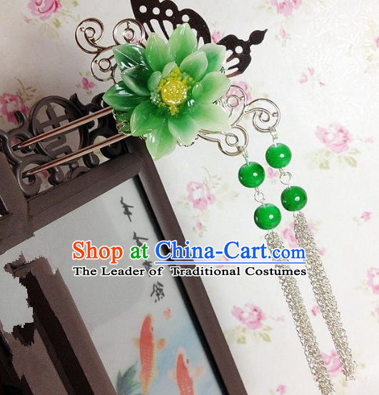 Traditional Chinese Ancient Classical Hair Accessories Hanfu Green Flower Hair Clip Tassel Step Shake Bride Hairpins for Women