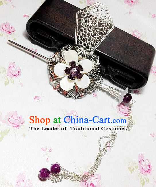 Traditional Handmade Chinese Classical Hair Accessories, Ancient Royal Highness Purple Beads Tassel Tuinga Hairdo Crown for Men