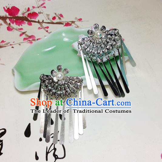 Traditional Chinese Ancient Classical Hair Accessories Hair Comb Bride Tassel Step Shake Hairpins for Women