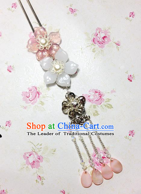 Traditional Chinese Ancient Classical Hair Accessories Hanfu Pink Shell Flowers Hair Clip Tassel Step Shake Bride Hairpins for Women