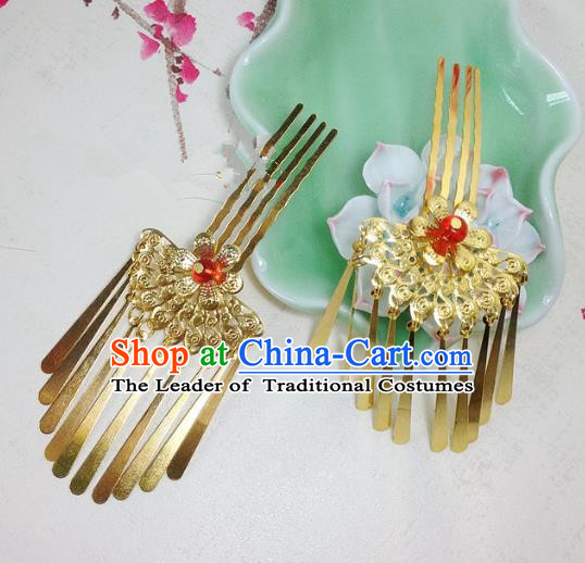 Traditional Chinese Ancient Classical Hair Accessories Golden Hair Comb Bride Tassel Step Shake Hairpins for Women