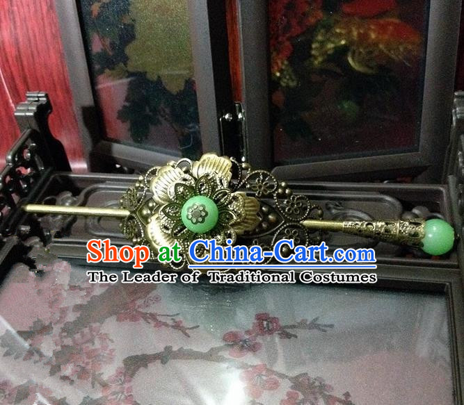 Traditional Handmade Chinese Classical Hair Accessories, Ancient Royal Highness Green Beads Tuinga Hairdo Crown for Men
