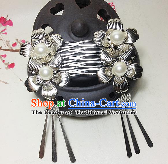 Traditional Chinese Ancient Classical Hair Accessories Hanfu Hair Comb Tassel Step Shake Bride Hairpins for Women