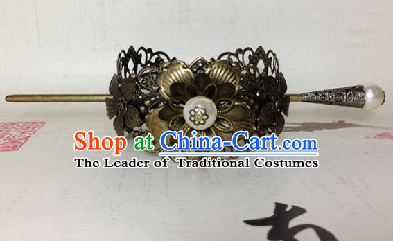 Traditional Handmade Chinese Ancient Classical Hair Accessories Royal Highness Bronze Tuinga Hairdo Crown for Men