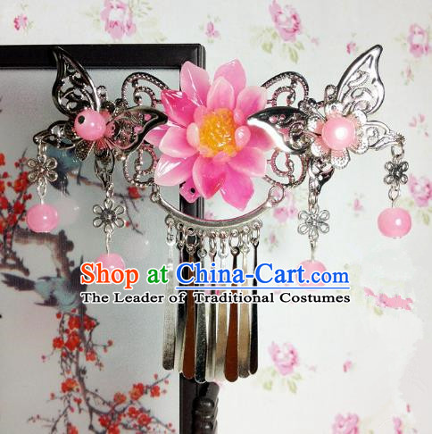 Traditional Chinese Ancient Classical Hair Accessories Princess Peach Pink Flower Hair Comb Tassel Step Shake Hairpins for Women