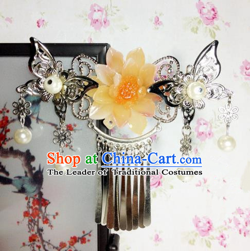Traditional Chinese Ancient Classical Hair Accessories Princess Yellow Flower Hair Comb Tassel Step Shake Hairpins for Women