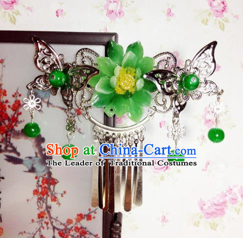 Traditional Chinese Ancient Classical Hair Accessories Princess Green Flower Butterfly Hair Comb Tassel Step Shake Hairpins for Women