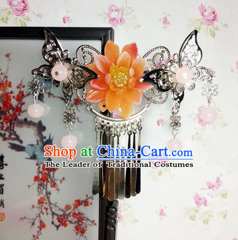 Traditional Chinese Ancient Classical Hair Accessories Princess Orange Flower Butterfly Hair Comb Tassel Step Shake Hairpins for Women