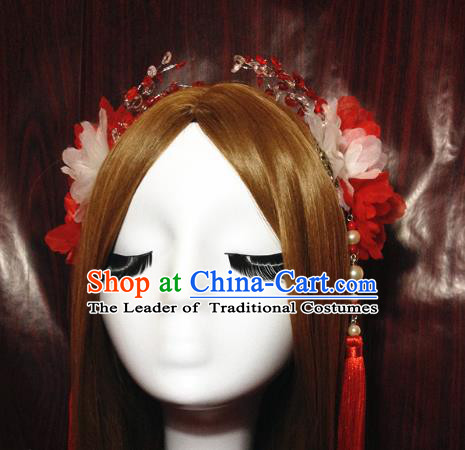 Traditional Chinese Ancient Classical Hair Accessories Bride Red Flowers Step Shake Hairpins Complete Set for Women