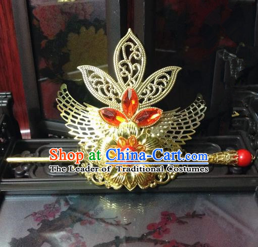 Traditional Handmade Chinese Classical Hair Accessories, Ancient Royal Highness Tuinga Golden Hairdo Crown for Men