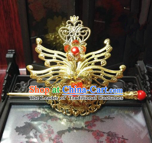 Traditional Handmade Chinese Classical Hair Accessories, Ancient Royal Highness Tuinga Red Beads Golden Hairdo Crown for Men