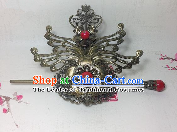 Traditional Handmade Chinese Classical Hair Accessories, Ancient Royal Highness Tuinga Red Beads Bronze Hairdo Crown for Men