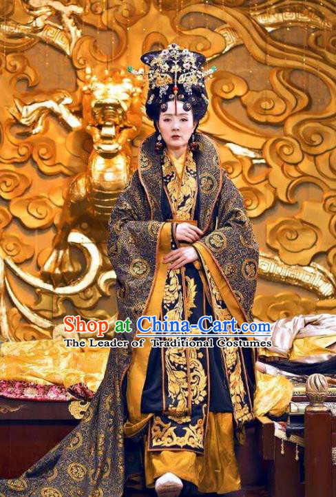 Traditional Chinese Southern and Northern Dynasties Empress Dowager Costume, Chinese Ancient Queen Mother Embroidered Tailing Clothing for Women