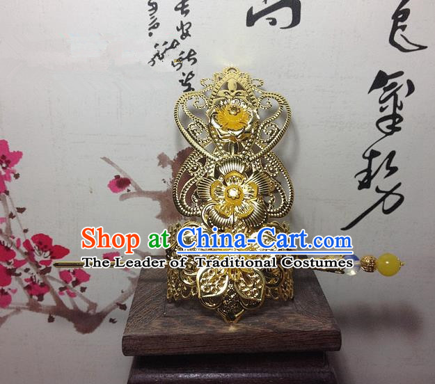 Traditional Handmade Chinese Classical Hair Accessories, Ancient Royal Highness Golden Tuinga Hairdo Crown for Men