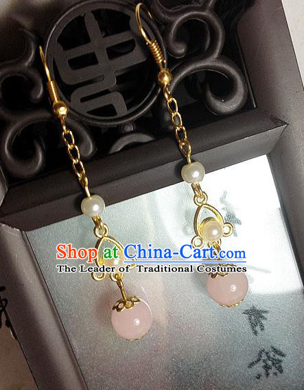 Traditional Handmade Chinese Ancient Classical Accessories Bride Hanfu Pearl Tassel Earrings for Women