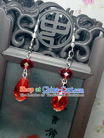 Traditional Handmade Chinese Ancient Classical Accessories Bride Hanfu Red Crystal Tassel Earrings for Women