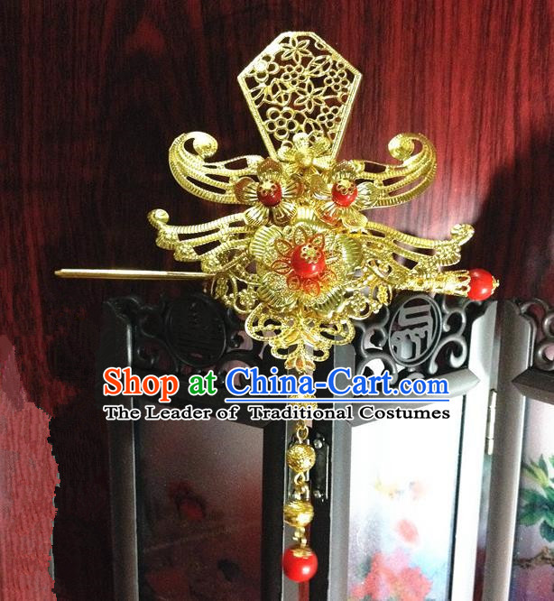 Traditional Handmade Chinese Classical Hair Accessories, Ancient Royal Highness Golden Headband Tassel Tuinga Hairdo Crown for Men