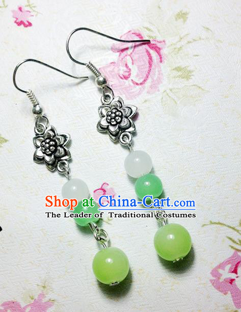 Traditional Handmade Chinese Ancient Classical Accessories Bride Hanfu Green Beads Tassel Earrings for Women