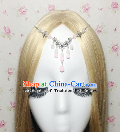 Traditional Chinese Ancient Classical Hair Accessories Hanfu Pink Beads Tassel Forehead Ornament Step Shake Bride Hairpins for Women