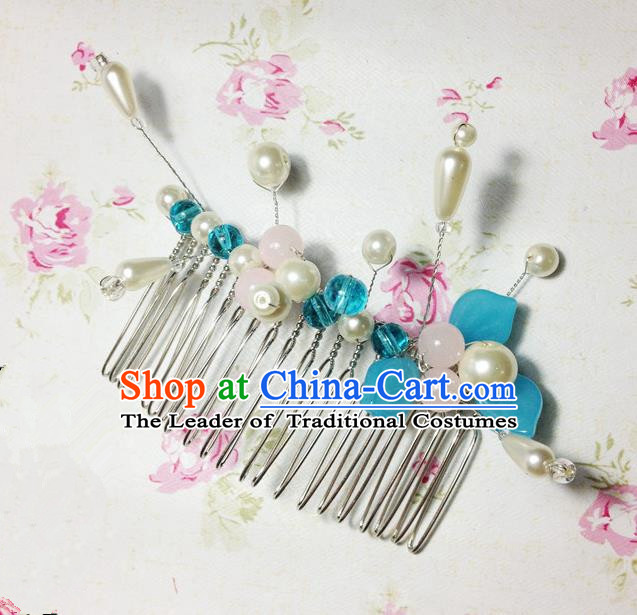 Traditional Chinese Ancient Classical Hair Accessories Hanfu Pearls Hair Comb Bride Hairpins for Women