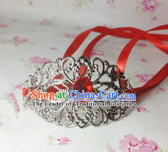 Traditional Handmade Chinese Classical Hair Accessories, Ancient Royal Highness Red Crystal Ribbon Headband Tuinga Hairdo Crown for Men