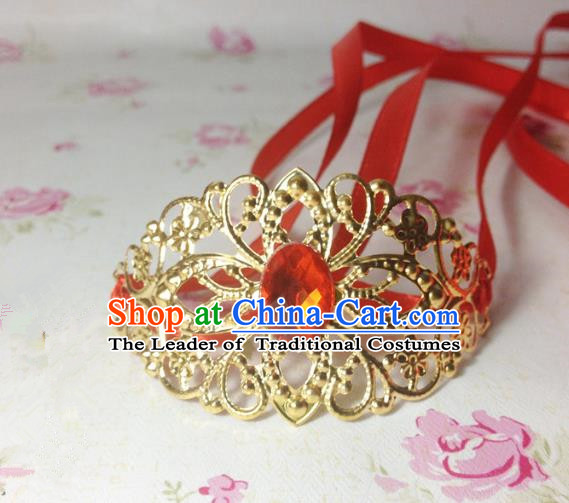 Traditional Handmade Chinese Classical Hair Accessories, Ancient Royal Highness Red Crystal Ribbon Headband Golden Tuinga Hairdo Crown for Men